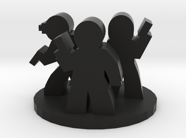 Game Piece, Secret Agent Group in Black Natural Versatile Plastic