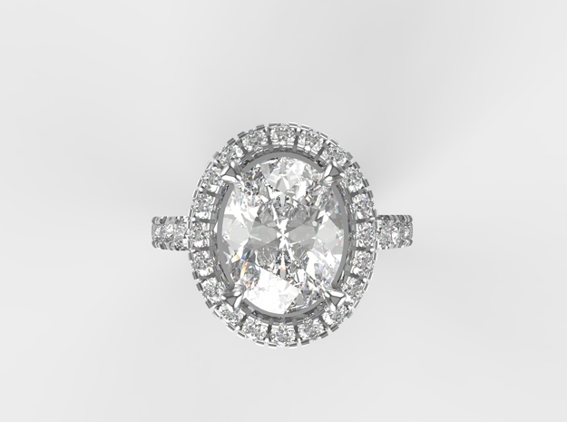 Engagement ring with halo in White Natural Versatile Plastic