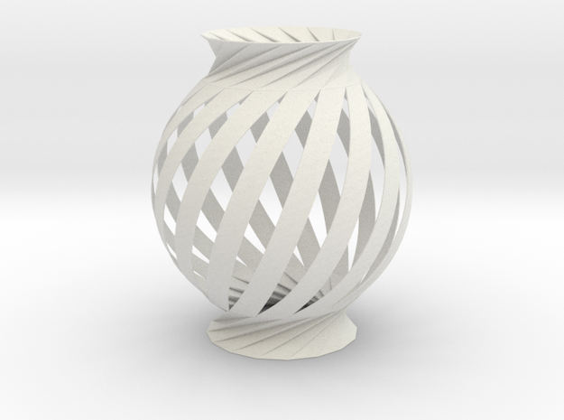 Lamp Ball Twist Spiral Inspired in Fold and Cut in White Natural Versatile Plastic