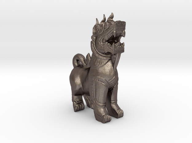 Fu Dog in Polished Bronzed Silver Steel