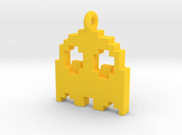 Pacman Pendant - Ghost (rounded corners) 3d printed