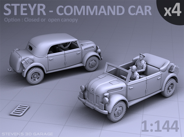 STEYR COMMAND CAR - (4 pack) in Smooth Fine Detail Plastic