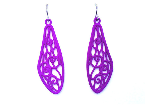 Smaller Fairytale Wing Earrings - nylon in Purple Strong & Flexible Polished
