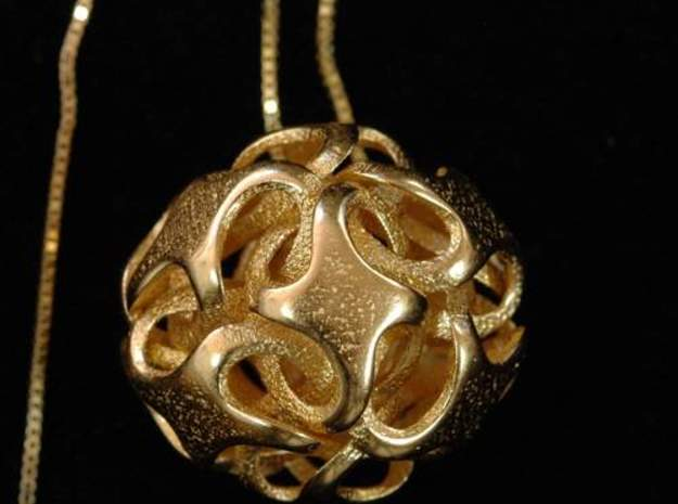 Rhombic Dodecahedron I, pendant in Polished Gold Steel