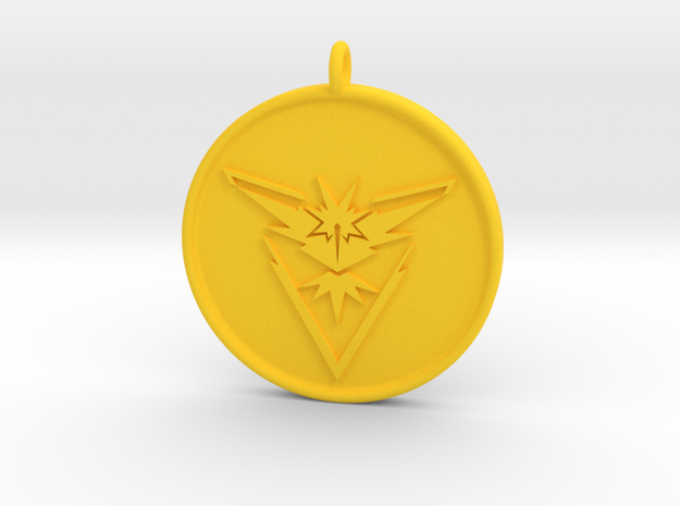 Pokemon Go - Instinct Team Pendant - WITH YOUR NAM in Yellow Processed Versatile Plastic