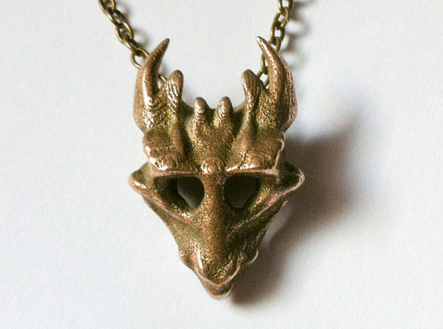 Juvenile Dragon Skull in Stainless Steel
