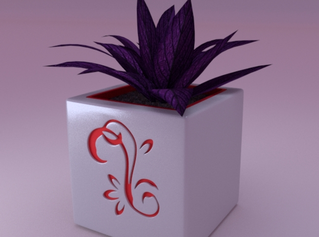 Mini cubed (Floral Patterned) Planter 1 3d printed render