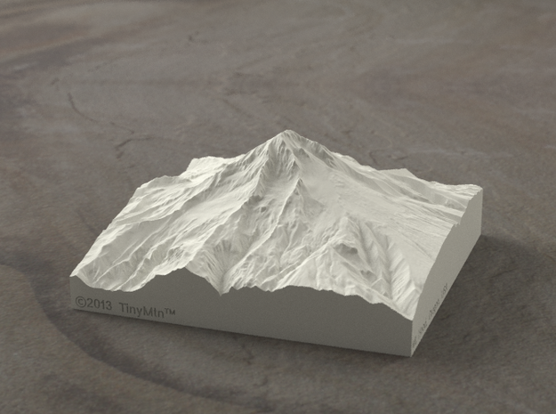 4'' Mt. Hood, Oregon, USA, Sandstone 3d printed Radiance rendering of Mt Hood terrain model from the West.