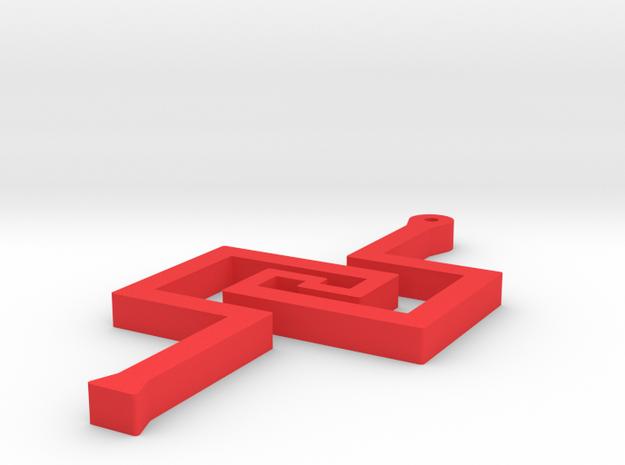 Greek Key Earring or Pendant in Red Processed Versatile Plastic