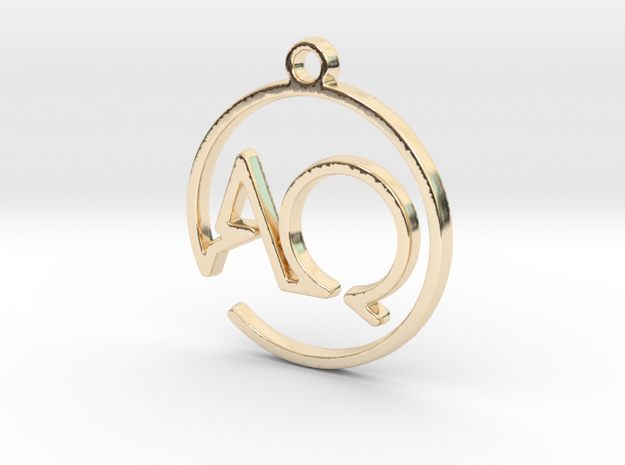A & Q Monogram Pendant in 14k Gold Plated