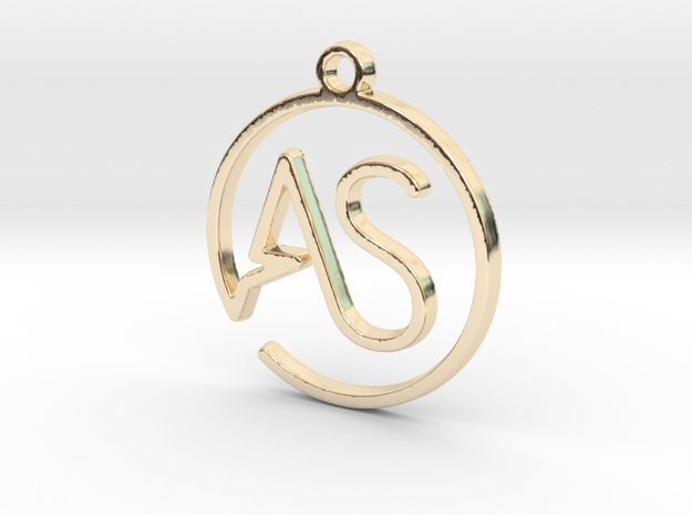 A & S Monogram Pendant in 14k Gold Plated