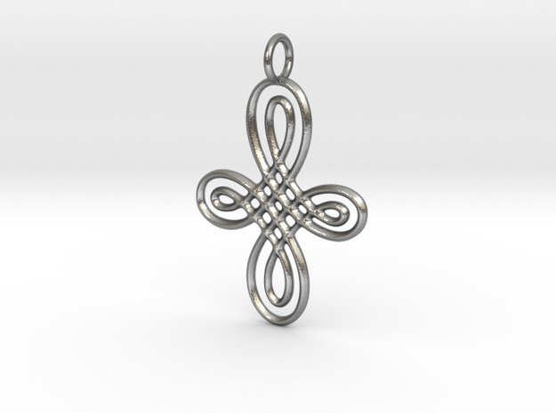 Celtic Round Cross Pendant in Natural Silver