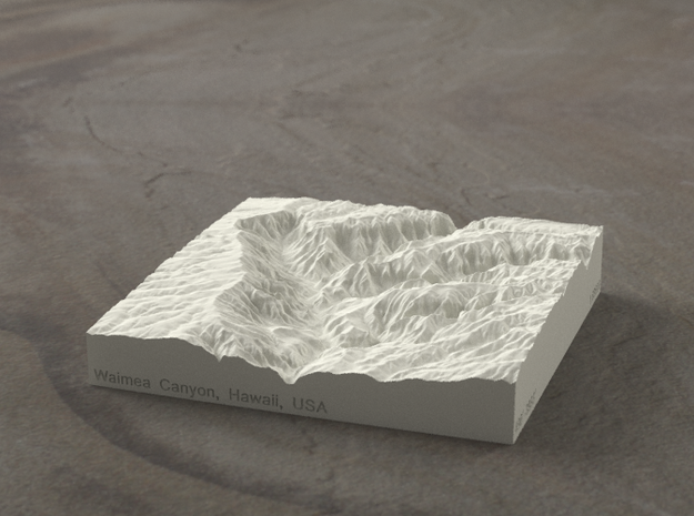 4'' Waimea Canyon, Hawaii, USA, Sandstone 3d printed Radiance rendering of model, viewed from the South