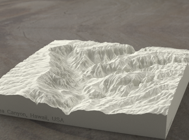 6'' Waimea Canyon, Hawaii, USA, Sandstone 3d printed Radiance rendering of model, viewed from the South