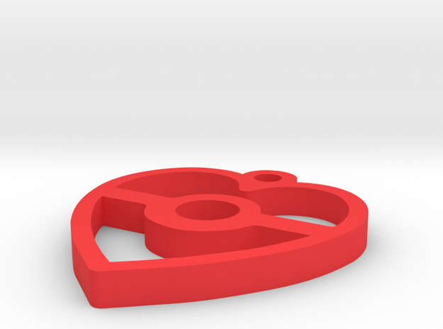 Pokeball Heart Pendant in Red Processed Versatile Plastic