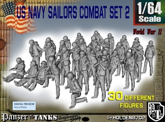 1/64 US Navy Sailors Combat SET 2 in Smooth Fine Detail Plastic