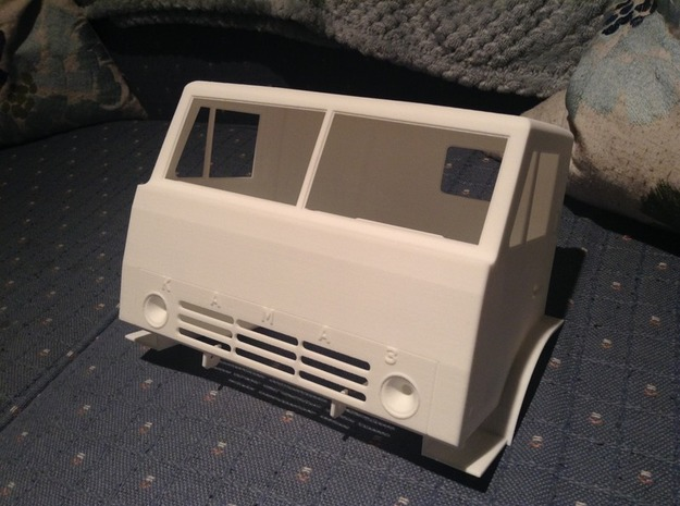 1:10 Kamaz 6x6 truck cab in White Strong & Flexible
