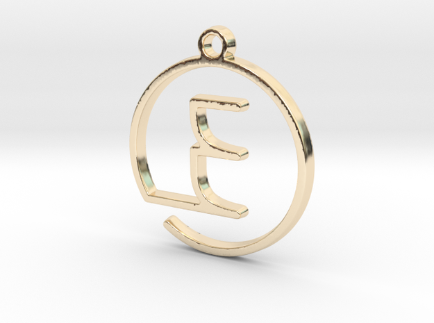 """""""E continuous line"""" Monogram Pendant in 14k Gold Plated Brass"""