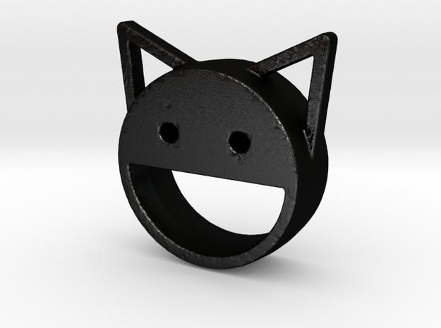happy cat in Matte Black Steel