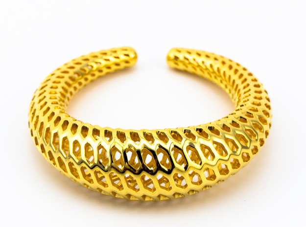 Dragontales Strutura, Bracelet Thick d=65mm in 18k Gold Plated