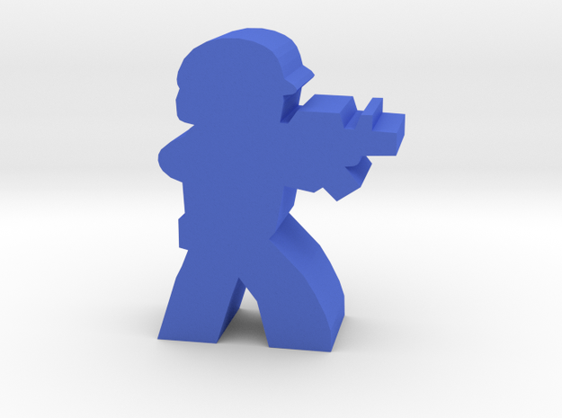 Game Piece, Blue Force Rifleman in Blue Processed Versatile Plastic