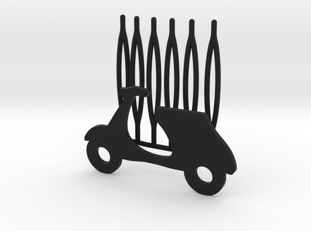 Scooter decorative hair comb - big size in Black Natural Versatile Plastic