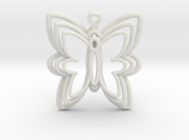 3D Printed Wired Butterfly Earrings  in White Natural Versatile Plastic