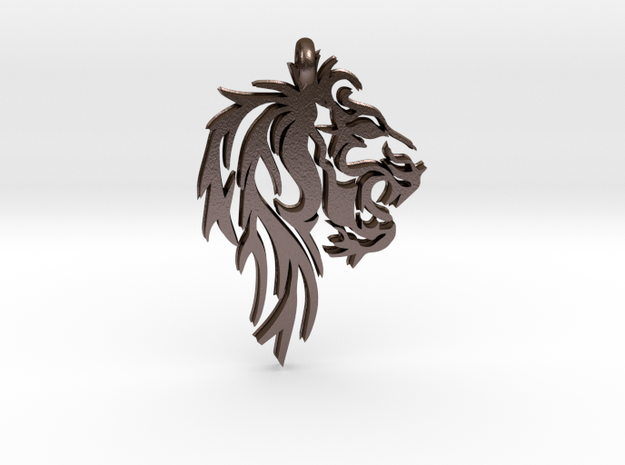 Leo Lion Zodiac Astrology Pendant in Polished Bronze Steel