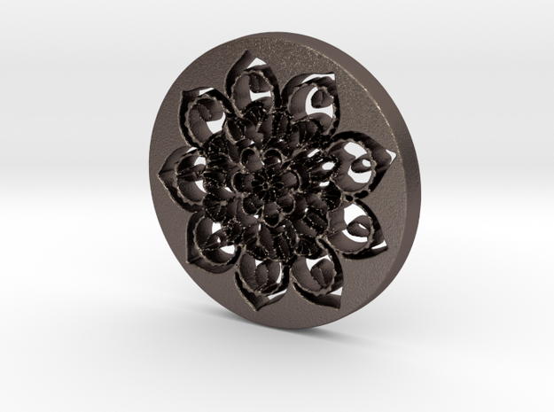 Flower Mandala Pendant in Polished Bronzed Silver Steel
