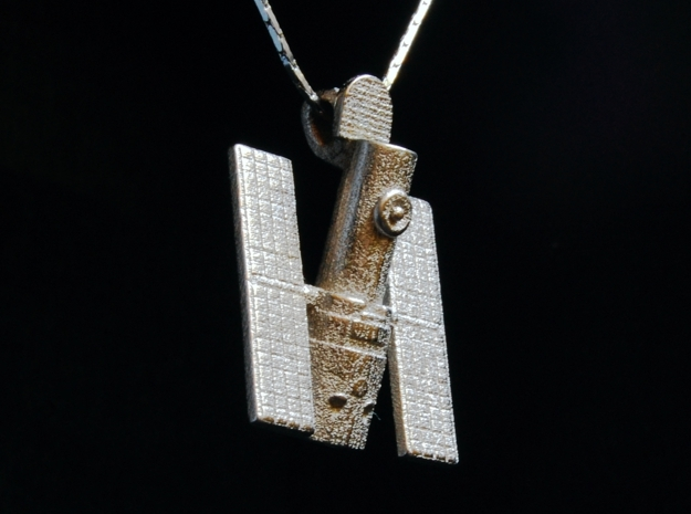 Hubble Space Telescope Pendant in Polished Nickel Steel
