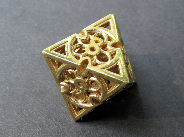 Gothic Rosette Die8 in Polished Brass
