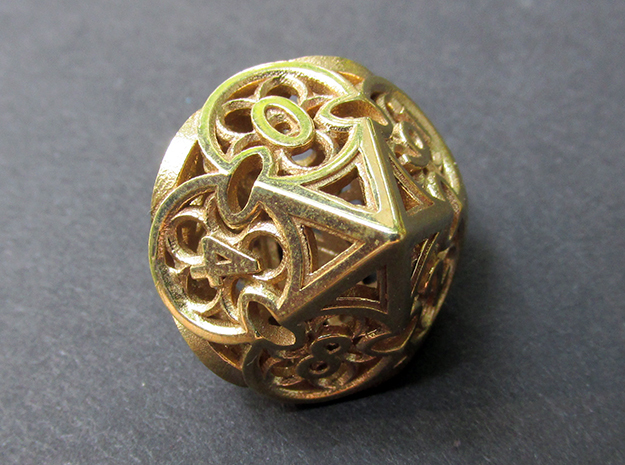 Gothic Rosette Die10 in Polished Brass