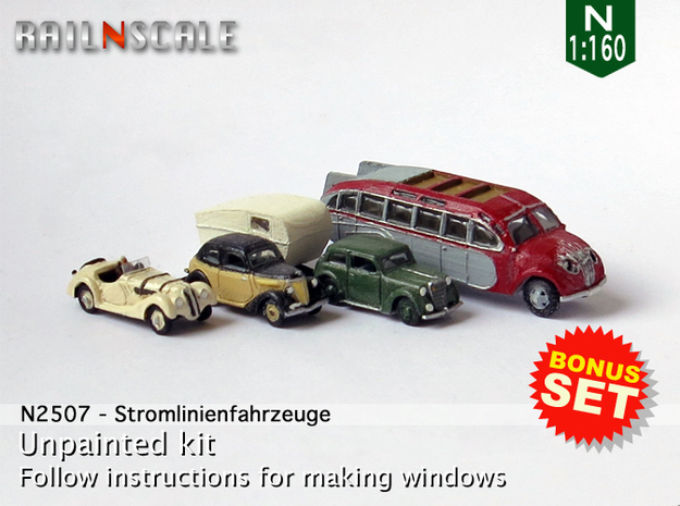 BONUS SET Stromlinienfahrzeuge (N 1:160) in Frosted Ultra Detail