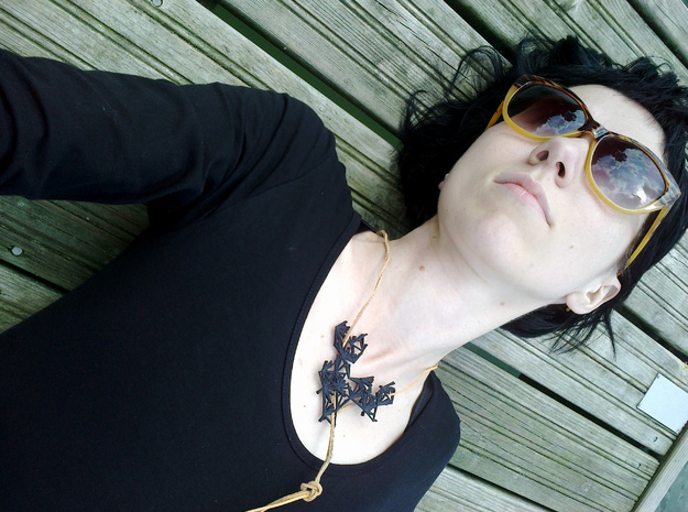 Glitch Necklace / Pendant v.1 in Black Strong & Flexible