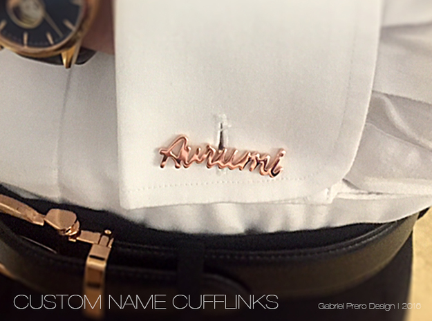 Custom Name Cufflinks - Avrumi in 14k Rose Gold Plated