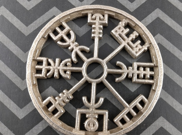 Vegvisir Pendant in Polished Bronzed Silver Steel