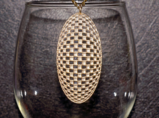 Geo Pendant in Natural Brass