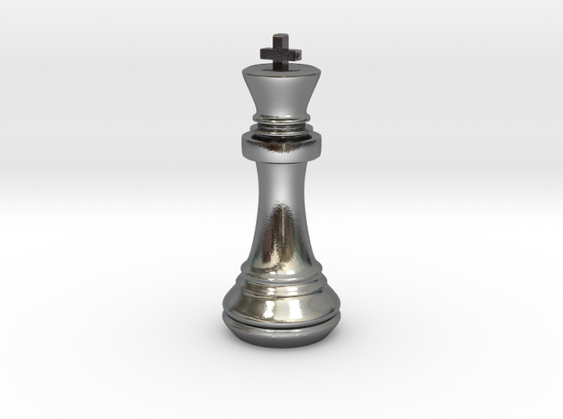Chess Set King in Polished Silver