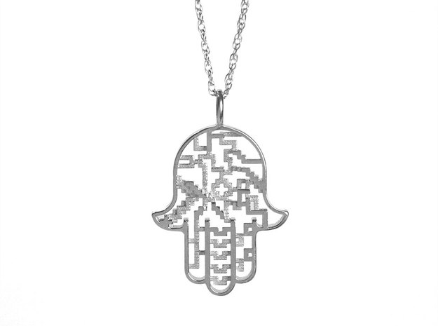 Hamsa Pendant in Polished Silver