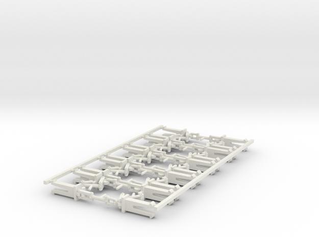 H0-10 Attelages à vis boîtier NEM in White Strong & Flexible