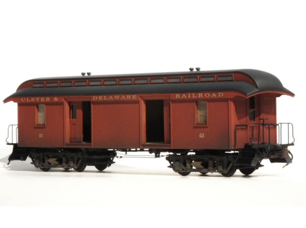 "46' Wood Baggage Car U & D RR S Scale 1/64 3/16"" in Frosted Ultra Detail"