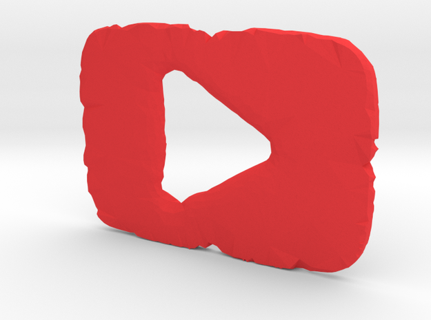 Shattered YouTube Play Button in Red Processed Versatile Plastic