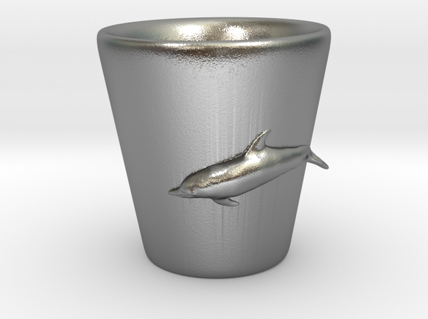 Dolphin Shot Glass in Natural Silver