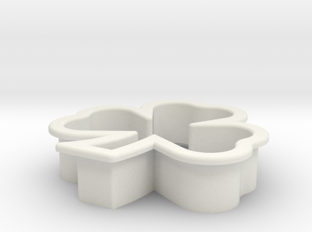 Clover Cookie Cutter in White Natural Versatile Plastic