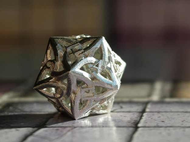 Celtic D20 3d printed Printed in Raw Silver