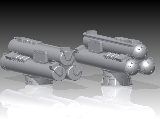 Mk32 torpedeo tubes kit, Power Opening x 2 - 1/96 3d printed Mk32 triple torpedo tubes Power Opening doors