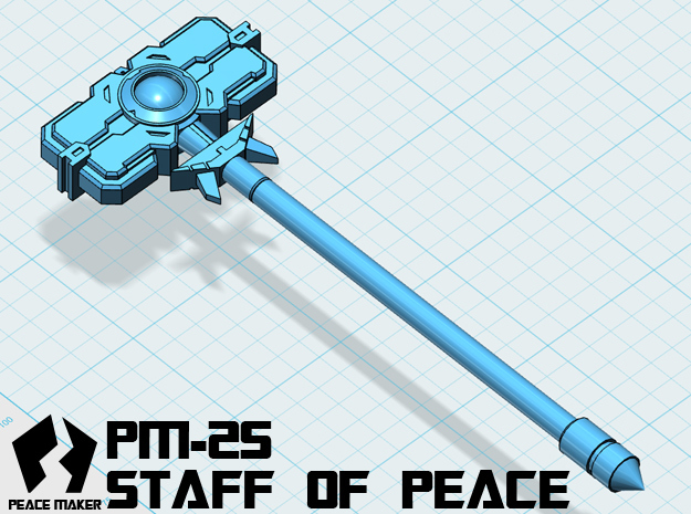 PM-25 STAFF OF PEACE in White Strong & Flexible