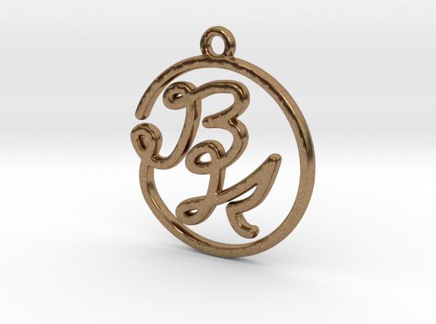 B & K Monogram Pendant in Raw Brass
