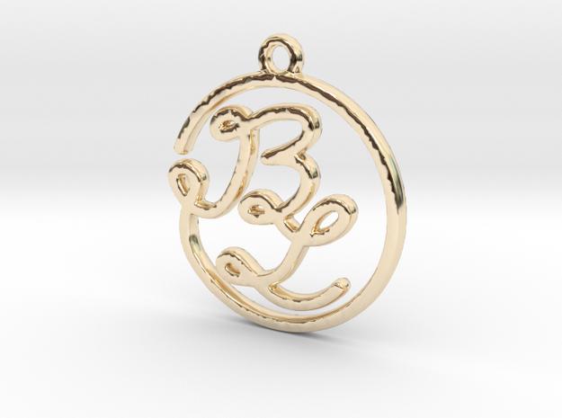 B & L Script Monogram Pendant in 14k Gold Plated Brass