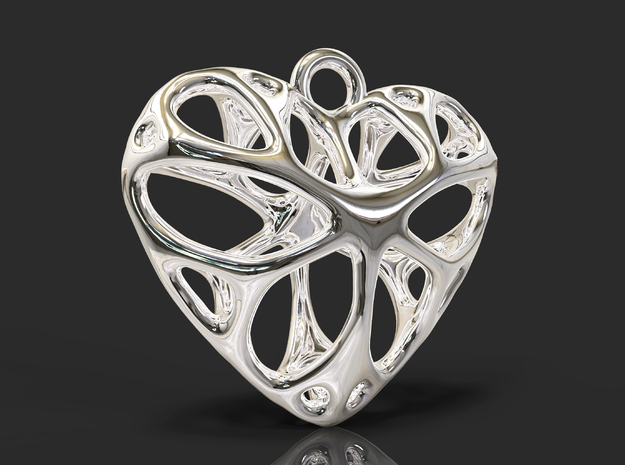 Heart Pendant_large in Polished Bronzed Silver Steel